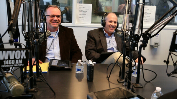 Neco Turkienicz and David Vogel at WVOX Radio Studios