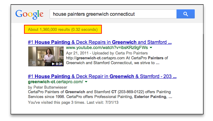 Certa Pro Painters of Greenwich CT got to the first page og Google with Video SEO Pro