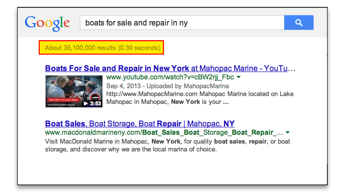 Mahopac Marine got to the first page og Google with Video SEO Pro