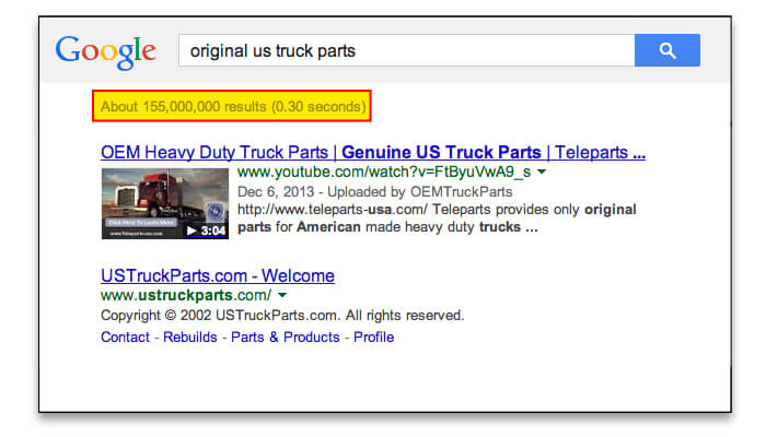 Teleparts Inc got to the first page og Google with Video SEO Pro